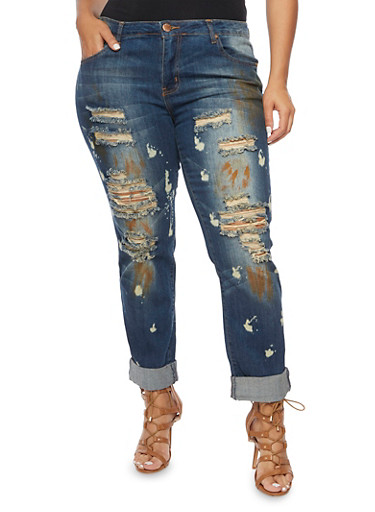 Plus Size VIP Jeans with Distressed Front,DARK WASH,large