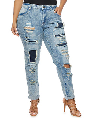 Plus Size Acid Wash Jeans with Distressed Front,LIGHT WASH,large