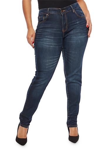 Plus Size VIP Push Up Skinny Jeans,DENIM,large
