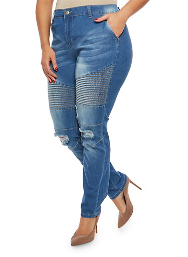 Plus Size VIP Ripped Knee Moto Jeans,DENIM,large