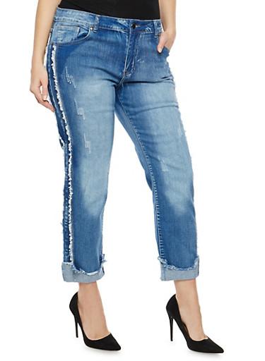 Plus Size VIP Frayed Trim Jeans,MEDIUM WASH,large