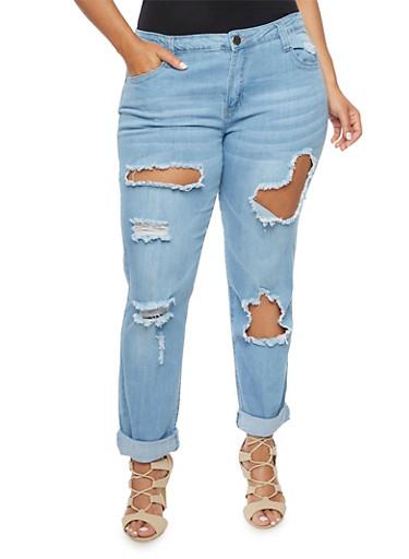 Plus Size VIP Ripped Boyfriend Jeans,LIGHT WASH,large
