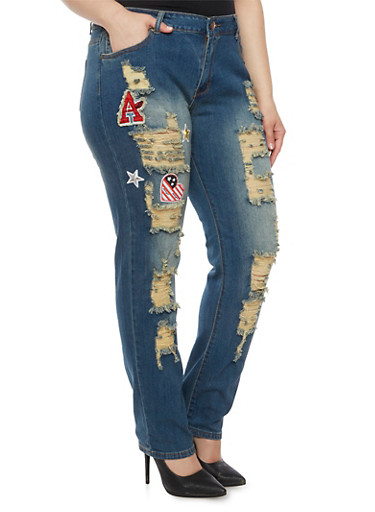 Plus Size Distressed Skinny Jeans with Patches,DARK WASH,large