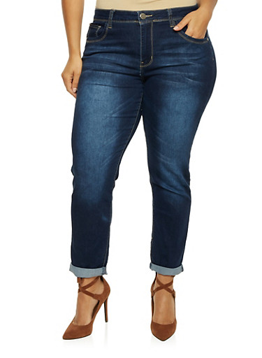 Plus Size VIP Cropped Skinny Jeans,DARK WASH,large