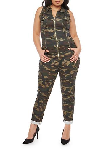 Plus Size VIP Zip Front Jumpsuit,CAMOUFLAGE,large