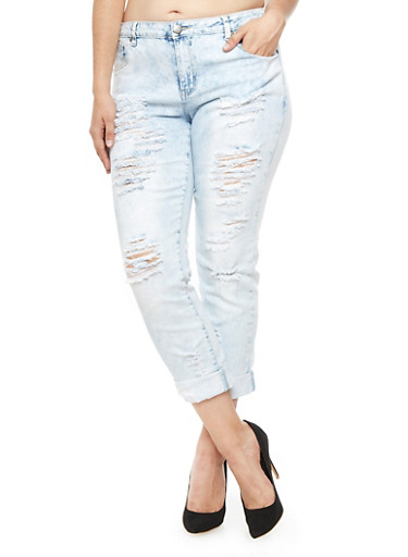 Plus Size VIP Light Acid Wash Distressed Boyfriend Jeans - Rainbow