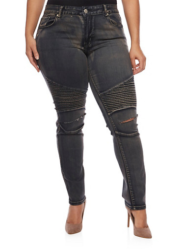 Plus Size Moto Jeans with Slash Cut Knees,BLACK,large