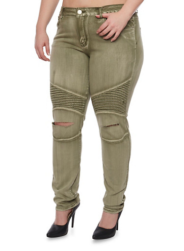 Plus Size VIP Moto Jeans with Slashed Knees,OLIVE,large