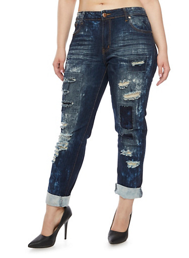 Plus Size VIP Jeans with Distressing Throughout,DARK WASH,large