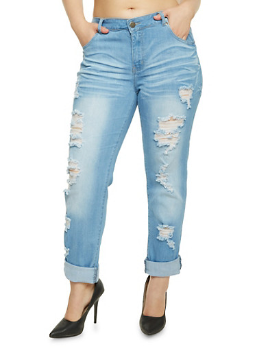 Plus Size VIP Distressed Skinny Jeans,LIGHT WASH,large