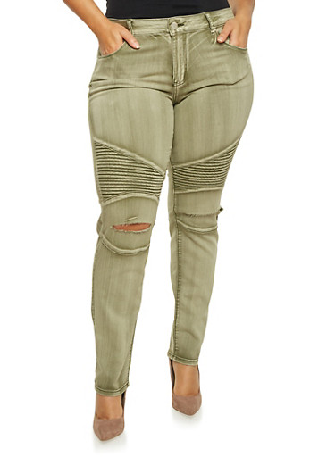 Plus Size Distressed Moto Jeans in Skinny Fit,OLIVE,large