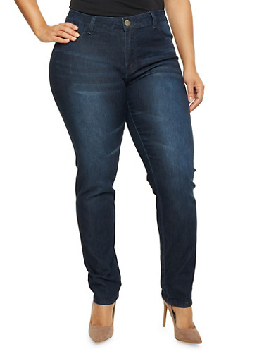 Plus Size Stretch Jeans with Light Whiskering,DARK WASH,large