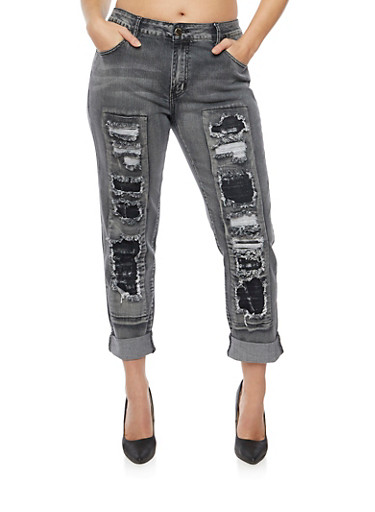 Plus Size Jeans with Distressed Front,BLACK,large