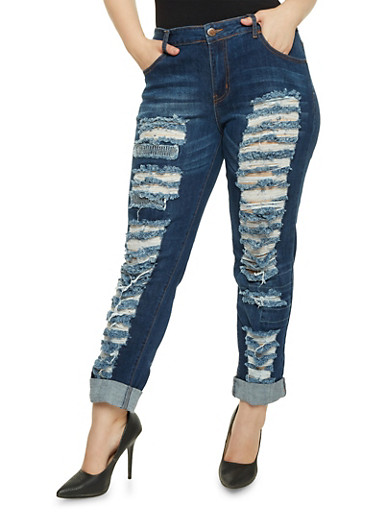 Plus Size Jeans with Distressed Front,DARK WASH,large