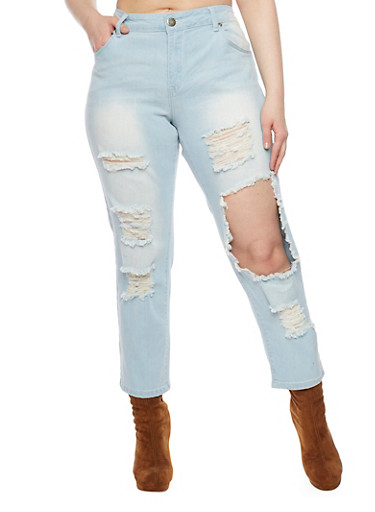 Plus Size VIP Destroyed Knee Faded Cropped Jeans,LIGHT WASH,large