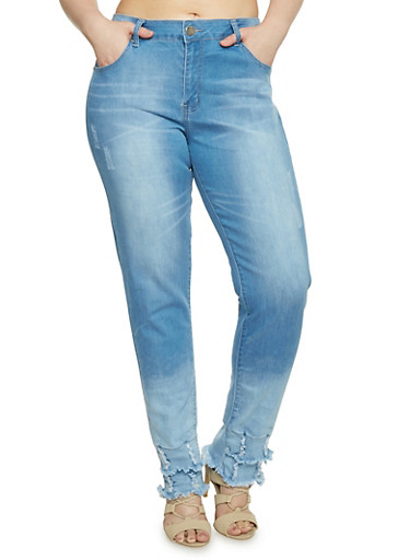 Plus Size Destroyed Hem Denim Skinny Jeans,LIGHT WASH,large