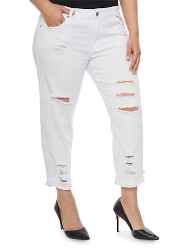 Plus Size VIP White Distressed Skinny Jeans,WHITE,large