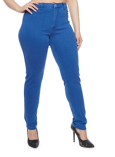 Plus Size High Waisted Jeggings,BLUE,large