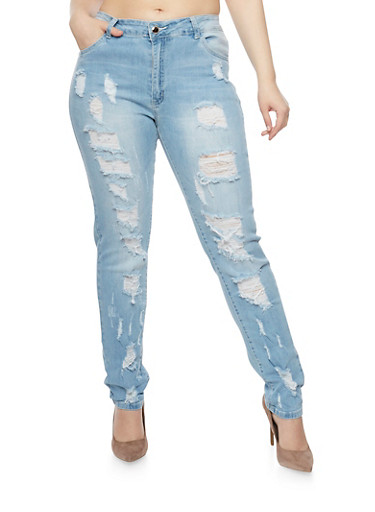 Plus Size Distressed Skinny Jeans,LIGHT WASH,large