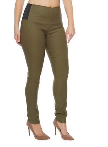 Plus Size Elastic Panel Jeggings,OLIVE,large