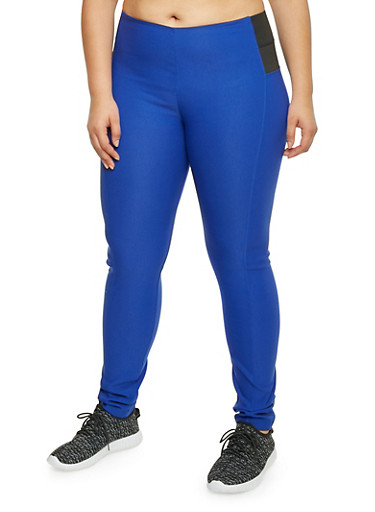 Plus Size Elastic Panel Jeggings,ROYAL,large