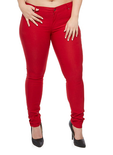 Plus Size Shinestar Stretch Jeans,RED,large