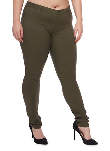 Plus Size Shinestar Stretch Knit Jeans,OLIVE,large
