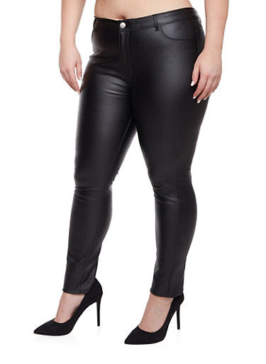 Plus Size Faux Leather Pants - Rainbow