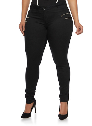 Plus Size Skinny Zipper Trim Jeggins,BLACK,large