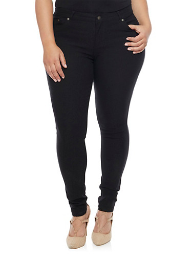 Plus Size Shinestar 5 Pocket Push Up Jeans,BLACK,large