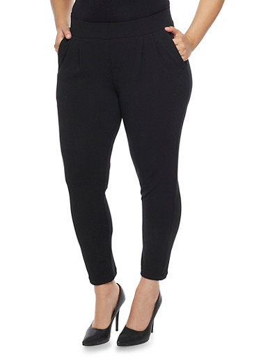 Plus Size Pleated Ankle Pants,BLACK,large