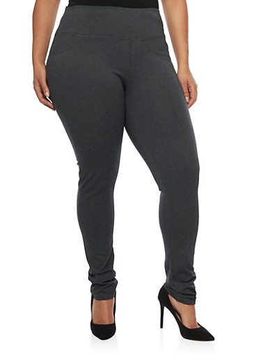 Plus Size 2 Back Pockets Jeggings,CHARCOAL,large