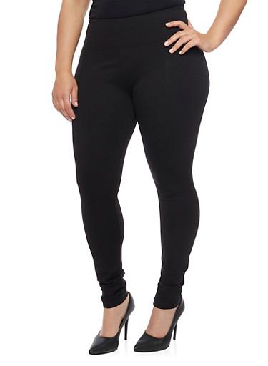 Plus Size Tummy Tuck High Waisted Leggings,BLACK,large