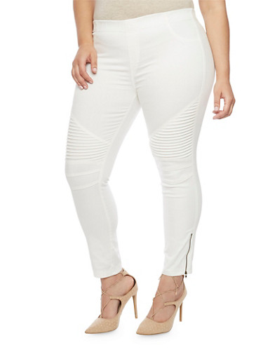 Plus Size Zip Moto Twill Jeggings,WHITE,large