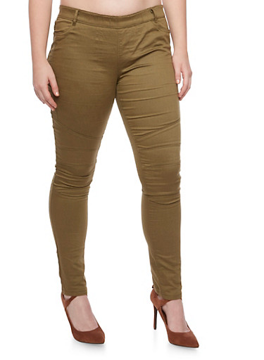 Plus Size Shinestar Pull On Moto Jeans,OLIVE,large