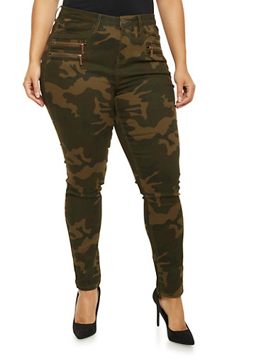 Plus Size Camo Print Skinny Jeans with Zip Pockets,CAMOUFLAGE,large