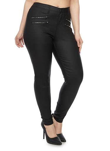 Plus Size Coated Jeans with Zipper Accents,BLACK,large