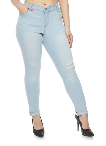 Plus Size Wax Jeans with Distressing,LIGHT WASH,large