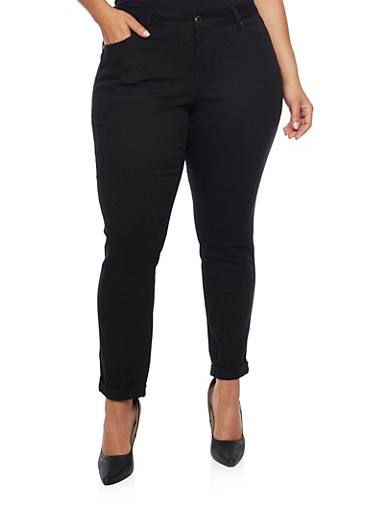 Plus Size WAX Rolled Cuff Skinny Jeans,BLACK,large
