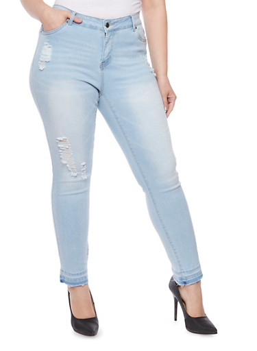 Plus Size WAX Distressed Skinny Jeans with Released Cuffs,LIGHT WASH,large
