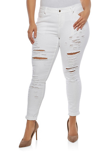 Plus Size WAX Distressed Skinny Jeans,WHITE,large