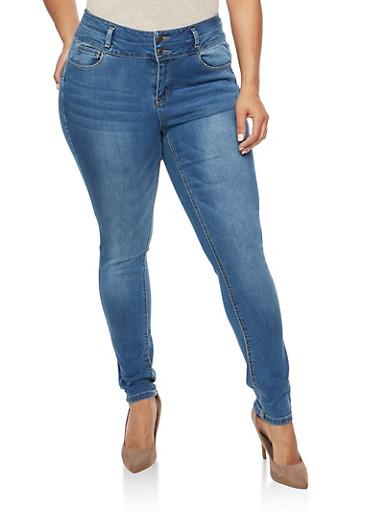 Plus Size WAX 2 Button Push Up Jeans,MEDIUM WASH,large