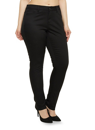 Plus Size Solid Wax Skinny Jeans,BLACK,large