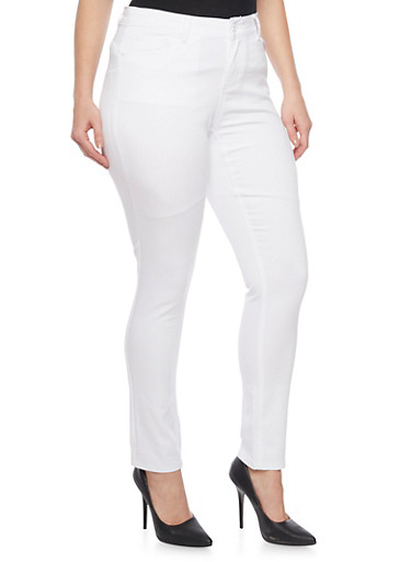 Plus Size Solid Wax Skinny Jeans,WHITE,large