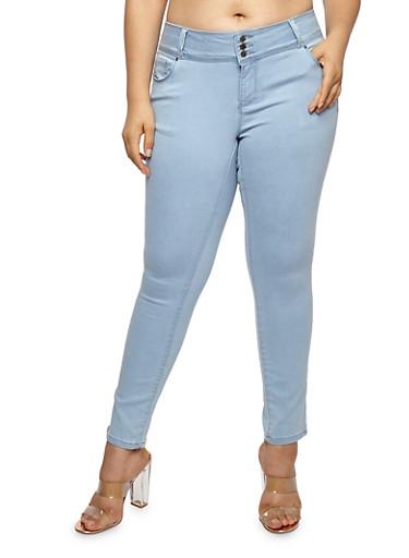 Plus Size WAX 3 Button Push Up Jeans,LIGHT WASH,large