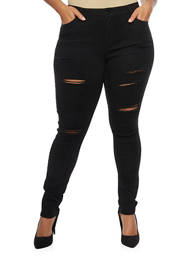 Plus Size Wax Ripped Detailed Skinny Jeans,BLACK,large