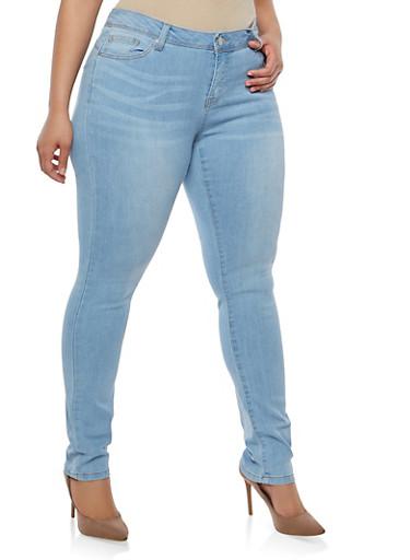 Plus Size WAX Whisker Wash Jeans,LIGHT WASH,large