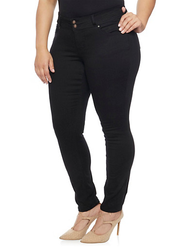 Plus Size WAX Double Button Skinny Jeans with Traditional Pockets,BLACK,large