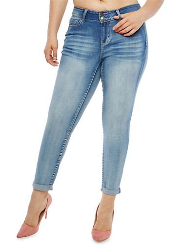 Plus Size WAX 2 Button Cuffed Jeans,LIGHT WASH,large