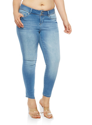 Plus Size WAX 2 Button Skinny Jeans,LIGHT WASH,large